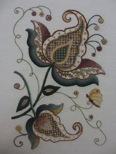 052. Look at the incredible detail and precision. I'm telling you, these ladies who do Jacobean crewelwork do not mess around.