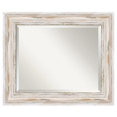 Bring rustic style to any room with this understated wood mirror, featuring a distressed whitewashed frame.    Product: Wall mirror...