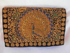 Vintage Art Deco Beaded Gold and Silver Tone Peacock Handbag Purse