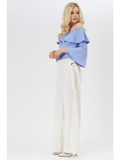 Revamp your going out wardrobe with this flawless blue bardot top. Featuring fluted sleeves, a flattering bardot neckline and pretty ruffle detailing, making.