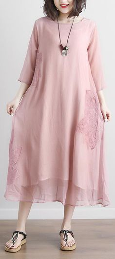 617552fb349 Fine cotton maxi dress plus size Pink Summer Fake Two-piece Pockets Retro  Dress