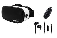 MAGIOVE 3D VR Glasses Virtual Reality Headset Mobile Phone 3D Movies for iPhone  Stereo Headphone  Gamepad Remote Controller