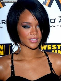 Rihanna Bang Black Short Hair Short Hair