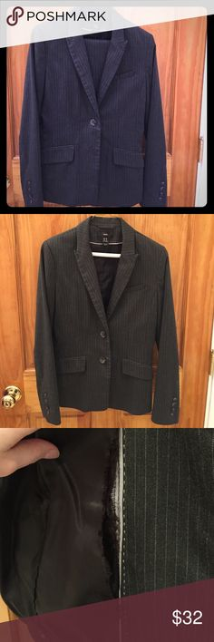 Dark Gray Pinstripe Suit Two-button Blazer with matching straight leg pants. Inside lining of jacket has tear along seam (pictured). Jacket: US 8 EUR 38, Pants: US 8 EUR 38. Happy to take a reasonable offer or answer any questions! H&M Jackets & Coats Blazers