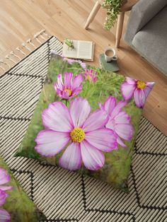'Winter Cosmos Flower in Pink Floor Pillow by ellenhenry Holland Garden, Floral Cushions, Flower Tattoo Designs, Green Backgrounds, Carnations, Floor Pillows, Hibiscus, Cosmos, White Flowers
