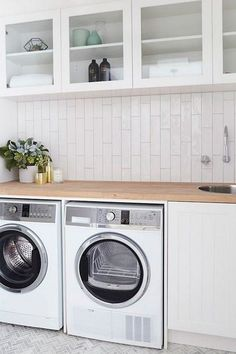 think long and tall - stack extra-long subway tiles vertically for a modern backsplash in a laundry room or bathroom. Brilliant Subway Tile Ideas You've Never Seen Before via Modern Laundry Rooms, Laundry In Bathroom, Laundry Closet, Downstairs Bathroom, Modern Bathroom, Master Bathroom, Laundry Room Inspiration, Shower Cubicles, Small Room Design