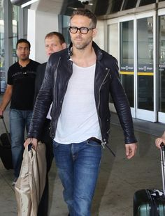 Ryan Reynolds at the airport when he touched down in Toronto.