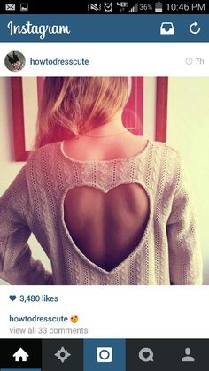 fashion outfit style heart sweater back Winter Sweaters, Cozy Sweaters, Cream Jumper, New Outfits, Fashion Outfits, T Shorts, Backless Top, Heart Sweater, Pretty Shirts
