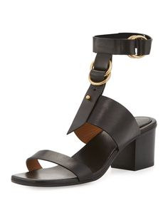 ad1c26d78555 Chloe - Kingsley Leather T-Strap Sandals Chloe Sandals