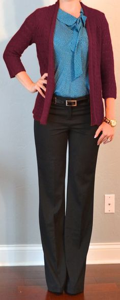 Outfit Posts: outfit post: teal tie blouse, burgundy cardigan, black editor pants  outfitposts.blogspot.com