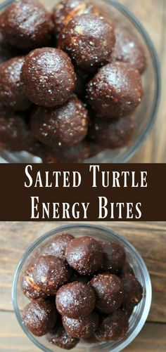 Make-ahead energy ball snack recipe Salted Turtle Energy Bite recipe. Make-ahead energy ball snack recipe. Protein Snacks, Protein Bites, Protein Ball, Energy Snacks, High Protein, Healthy Energy Bites, Energy Bars, Clean Eating Snacks, Healthy Eating
