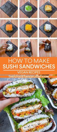"""Vegan Tofu """"Katsu"""" Sushi Sandwiches (Onigirazu) and Rolls Sashimi, Tofu Sushi, Sushi Sauce, Healthy Sushi, Vegetarian Recipes, Cooking Recipes, Healthy Recipes, Katsu Recipes, Dessert Chef"""