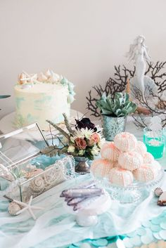 Cakescape from a Majestic Under the Sea Birthday Party on Kara's Party Ideas | KarasPartyIdeas.com (24)