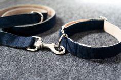 Collier pour chien bleu 100% coton – Hariet & Rosie Vackertass