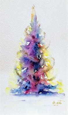 by Elsa Nutz Watercolor Christmas Tree, Christmas Tree Painting, Watercolor Trees, Christmas Art, Watercolor And Ink, Watercolor Paintings, Watercolors, Christmas Drawing, Xmas
