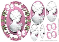 Pretty cameo lady in pink roses pyramids with butterflies on Craftsuprint - View Now!