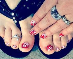 Red Aloha Flower Jamberry Nail Wraps. Each sheet has at least 2-3 applications, which last up to 2 weeks on fingers & up to 6 weeks on toes...they are durable, stay shiny & won't chip or smudge. Say goodbye to polish & hello to beautiful nails! To purchase, www.taraeman.jamberrynails.net