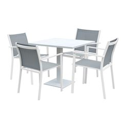 http://www.bonsoni.com/venice-aluminium-textilene-4-seater-dining-set-in-white-grey-garden-outdoor-furniture  Bonsoni Sandbanks Aluminium & Textilene 4 Seater Dining Set in White & Grey (Outdoor Use Only)  http://www.bonsoni.com/venice-aluminium-textilene-4-seater-dining-set-in-white-grey-garden-outdoor-furniture