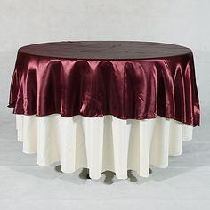 "Burgundy 90"" Satin Round #Tablecloths"