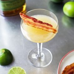 A simple cocktail made with rye, bacon, simple syrup, lime juice and liquid smoke.  Smoky yet refreshing!