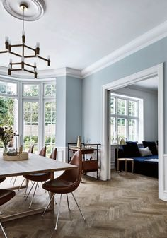 House Passion - - Classic Swedish home in blue & cognac Light Blue Houses, Light Blue Walls, Home Living Room, Living Spaces, Swedish Interior Design, Swedish Interiors, Swedish House, Swedish Home Decor, Living Room Lighting