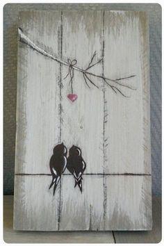 Bekijk de foto van jrom met als titel Vogeltjes op steigerhout. Love it! en andere inspirerende plaatjes op Welke.nl.