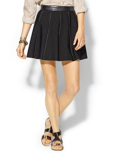 Parker Anika Leather Trimmed Skirt - Black