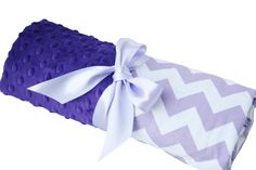 Lavender and White Chevron Baby Blanket with Purple by babyboos, $30.00