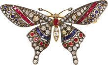 Diamond, Ruby, Sapphire, Silver-Topped Gold Brooch. The  