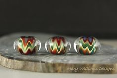 Calliope Lampwork Bead Trio by Mary Williams