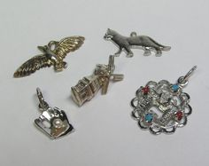 Lot of Five Vintage Silver Bracelet Charm by lifeintheknife, $24.99