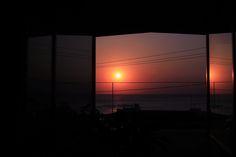 家からの夕日