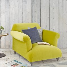 Soufflè armchair in yellow velvet fabric #CosyArmchair