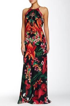 Short Sleeve Flower Print Maxi Dress - USD $25.01 | So Chic ...