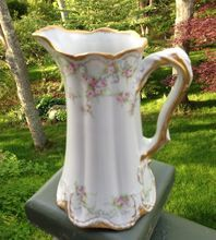 Antique Haviland Limoges Tall Creamer Pitcher Roses St Germain