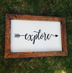 Explore Sign, Explore Arrow Wood Sign, Fixer Upper Decor, Wanderlust Sign, Explorer Sign, Nursery Sign, Boho Nursery Arrow Sign, Farmhouse