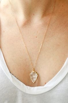 Gold arrowhead necklace long gold necklace quartz by SeaAndCake.