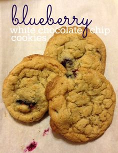 Blueberry White Chocolate Chip Cookies made with fresh blueberries