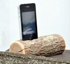 Wood iPhone Dock with charging cable.....modern meets rustic.