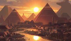 Mountain MtG Art from Amonkhet Set by Jonas De Ro Fantasy City, Fantasy Castle, Fantasy Places, Fantasy World, Egypt Concept Art, Fantasy Concept Art, Fantasy Artwork, Fantasy Art Landscapes, Fantasy Landscape