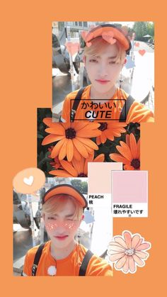 L Wallpaper, Homescreen Wallpaper, Wallpaper Backgrounds, Orange Aesthetic, Kpop Aesthetic, Kpop Backgrounds, Kim Hongjoong, Fandom, Kpop Fanart