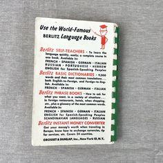 Berlitz Italian for Travelers Phrase Book - 1954 pocket dictionary