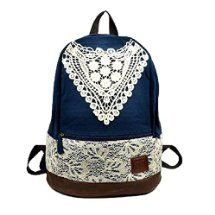 Sealike New Korean Lace College Style Leisure Canvas Backpack Gilr's Lovely Bow Rucksack Vintage Floral Print School Bag Retro Sweet Fashionable Outdoor School Backpack for Teens Students Women Ladies Girls Navy Blue