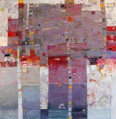 "Carey Corea, City of Certitude, 48""x48"" Encaustic on cradled Birch Panel"