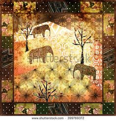 Patchwork african pattern grunge print vintage, retro background   - stock photo