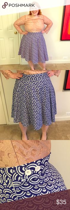 SWAK Curvy Kitten June Skirt in Blue Fan High waist, retro a-line skirt that hits below the knee. Cute button detail at the side (see 3rd picture.) Bright blue, fan print fabric is 98% cotton and 2% Spandex. Size 2x is 43-52 inch waist and up to 70 inch hips. SWAK Skirts A-Line or Full