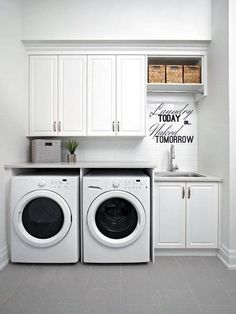 Small laundry room design ideas will certainly assist you to take pleasure in the location around your washer and also clothes dryer. Locate the best ideas for 2018 as well as transform your laundry room design Laundry Room Remodel, Basement Laundry, Farmhouse Laundry Room, Laundry Closet, Laundry Room Organization, Laundry In Bathroom, Laundry Storage, Organization Ideas, Laundry Organizer