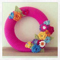 Flower butterfly wreath crochet, bloemen vlinders krans haken