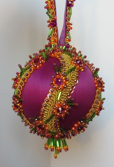 "Beaded Christmas Ornament Kit ""Sisters"" This satin ornament, embellished with beads reminds me of the ornaments I used to have as a child. really fun. Sequin Ornaments, Beaded Ornament Covers, Fabric Ornaments, Christmas Ornaments To Make, Christmas Snowflakes, Handmade Ornaments, Handmade Christmas, Christmas Crafts, Felt Christmas"