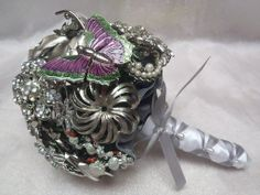 Vintage Brooch Bouquet -- mostly silver with a few clear rhinestones thrown in.